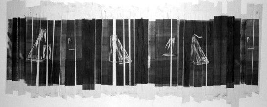 s/ título  / xilogravura em fita crepe / 500cm x 250cm (aproximadamente) 2006
