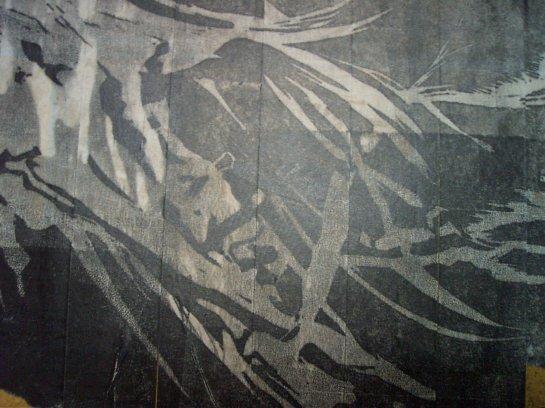 Fossil (detalhe)  / xilogravura em fita crepe / 100cm x 200cm (aproximadamente) / 2006